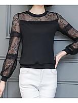Для женщин На каждый день Блуза Круглый вырез,Простое Однотонный Длинный рукав,Полиэстер,Тонкая