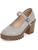 Damen-High Heels-Büro Kleid Lässig-PU-Blockabsatz Block Ferse-Club-Schuhe-Schwarz Grau Mandelfarben