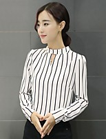 Women's Casual/Daily Formal Work Simple Blouse,Striped Stand Long Sleeve Polyester