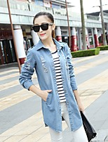 Women's Casual/Daily Simple Spring Denim Jacket,Solid Shirt Collar Long Sleeve Long Cotton