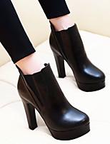 Черный-Для женщин-Повседневный-Полиуретан-На толстом каблуке-Удобная обувь-Ботинки