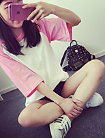 Women's Going out Casual/Daily Holiday Simple Cute Summer T-shirt,Color Block Round Neck Short Sleeve Others Thin