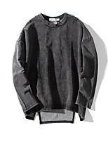 Men's Casual/Daily Sweatshirt Solid Round Neck Micro-elastic Spandex Long Sleeve Spring