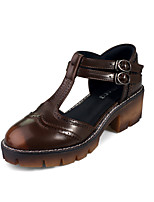Women's Sandals Spring Summer Comfort Microfibre Dress Chunky Heel Block Heel Black Brown