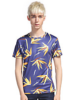 Men's Going out Casual/Daily Holiday Simple Punk & Gothic T-shirt,Print Round Neck Short Sleeve Cotton