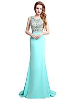 Официально вечернее платье труба / русалка драгоценность развертки / щетка поезд джерси с бисером