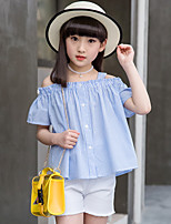 Girls' Going out Casual/Daily Holiday Patchwork Sets Cotton Summer Short Sleeve A Word Shoulder Striped Top Shorts 2 Pieces Clothing Set