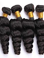 Tissages de cheveux humains Cheveux Malaisiens Ondulation Lâche 12 mois 4 Pièces tissages de cheveux
