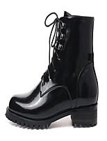 Damen-Stiefel-Lässig-PU-Blockabsatz Block Ferse-Fersenriemen-