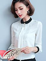 Для женщин На выход На каждый день Весна Лето Рубашка Воротник-стойка,Простое Однотонный Контрастных цветов Длинный рукав,Полиэстер,