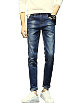 Men's Mid Rise Micro-elastic Jeans PantsSimple Slim Solid ACD-A139