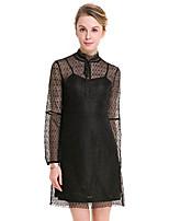 Для женщин Праздник Большие размеры Вечеринка/коктейль Уличный стиль Оболочка Кружева Маленькое черное Платье Однотонный,Воротник-стойка