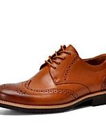 Черный Коричневый-Для мужчин-Для офиса Повседневный-КожаУдобная обувь-Туфли на шнуровке