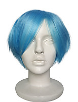 Cosplay Wig Blue Synthetic Fiber Capless Wig Short With Bangs For Cosplay