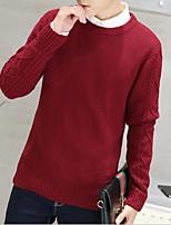 Herren Standard Pullover-Lässig/Alltäglich Jacquard Rundhalsausschnitt Langarm Baumwolle Herbst Dick Mikro-elastisch