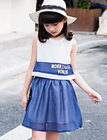 Girl's Going out Casual/Daily Print Patchwork Dress,Polyester Summer Sleeveless