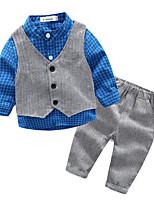 Мальчики Наборы На каждый день Хлопок Клетка Зима Весна Осень Длинный рукав Набор одежды