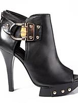 Черный-Для женщин-Для прогулок Повседневный-Кожа-На шпильке-Удобная обувь-Обувь на каблуках