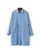 Для женщин На каждый день Весна лето Джинсовая куртка Рубашечный воротник,просто Однотонный Обычная Длинный рукав,Хлопок