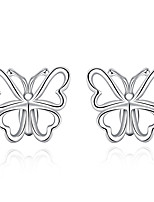 Concise Silver Plated Fashion Butterfly Stud Earrings for Party Women Jewelry Accessiories