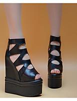 Damen-High Heels-Lässig-PU-Keilabsatz-Fersenriemen-Weiß Schwarz