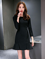 2016 spring new Korean temperament Slim thin package hip fishtail dress flounced female tide