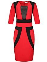 Для женщин Большие размеры Секси Облегающий силуэт Платье Контрастных цветов,Квадратный вырез До колена Рукав ¾ Хлопок ЛетоСо стандартной