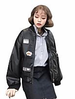 Для женщин На выход На каждый день Весна Джинсовая куртка Круглый вырез,просто Однотонный Буквы Короткие Длинный рукав,Полиуретановая