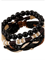 Wrap Bracelet Leather Round Beaded Vintage Punk Men's Women's Jewelry 1pc
