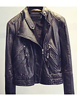 Women's Casual/Daily Work Vintage Street chic Spring Fall Leather Jacket,Solid Stand Long Sleeve Regular PU
