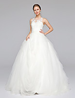 LAN TING BRIDE Ball Gown Wedding Dress Simply Sublime Sweep / Brush Train Jewel Lace Tulle with Appliques