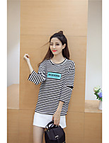 2016 Autumn thin sleeve striped letters printed wild thin loose T-shirt women Sign