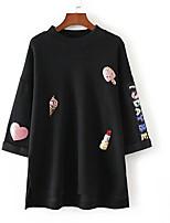 Women's Casual/Daily Simple Sweatshirt Print Round Neck Micro-elastic Cotton Long Sleeve Fall