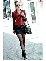 Women's Casual/Daily Punk & Gothic Fall Leather Jacket,Solid Shirt Collar Long Sleeve Regular PU
