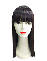 Wig Long Straight With Neat Bangs Synthetic Fiber Wig Highligjt Wig