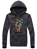 Men's Plus Size Casual/Daily Sports Going out Active Simple Hoodie Letter Print V Neck Inelastic Cotton Acrylic Long Sleeve Spring Fall k439