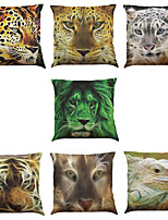 Set of 7 Leopard Lizard  Pattern Linen  Cushion Cover Home Office Sofa Square  Pillow Case Decorative Cushion Covers Pillowcases