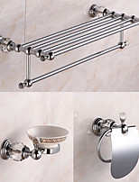 Bathroom Accessory Set / ChromeBrass Crystal /Contemporary