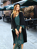 Women's Casual/Daily Long Cardigan,Solid Round Neck Long Sleeve Others All Seasons Medium Micro-elastic