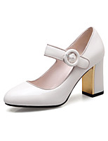 Women's Heels Spring Summer Fall Club Shoes Patent Leather Office & Career Dress Casual Chunky Heel Block Heel Buckle White Black Red