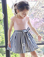 Girl's Casual/Daily Striped Patchwork Dress,Cotton Summer Sleeveless