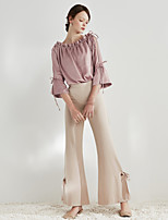Women's Casual/Daily Party/Cocktail Holiday Cute Sophisticated All Seasons Blouse,Solid Boat Neck ¾ Sleeve Polyester Medium