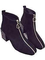 Damen-Stiefel-Lässig-Vlies-Blockabsatz Block Ferse-Komfort-