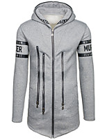 Men's Casual/Daily Hoodie Letter Print Shirt Collar Micro-elastic Cotton Long Sleeve Fall