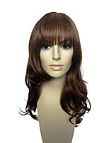 Wig Brown Color Long Deep Wave Synthetic Fiber Heat Resistant Wig With Neat Bangs
