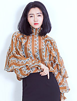 Women's Casual/Daily Simple Blouse,Floral Stand Long Sleeve Polyester Thin