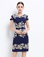 Women's Going out Sexy Sophisticated Sheath Dress,Embroidered Round Neck Above Knee Short Sleeve Polyester Summer Mid Rise Inelastic