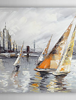Hand-Painted  Abstract Boat by Knife Canvas Oil Painting With Stretcher For Home Decoration Ready to Hang