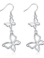 Exquisite Silver Plated Butterfly Connected Drop Earrings for Wedding Party Women Jewelry Accessiories