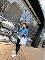 Women's Going out Casual/Daily Simple Spring Fall Denim Jacket,Solid Shawl Lapel Long Sleeve Short Cotton